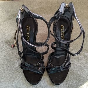 Guess Stiletto Heels Black and Gold Zipper